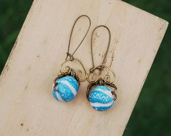 Handmade Blue Ceramic Bead Earrings Wire Wrap Earrings