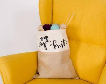 sip sip knit tote | knitting tote | knitting bag | knitting and wine gift | knitting and wine bag
