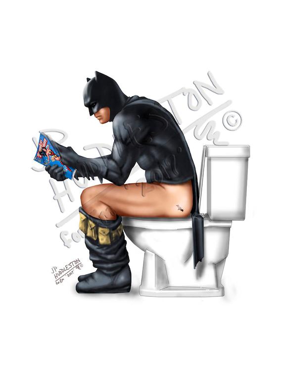 Batman Toilet Batman Pooping Batman Bathroom Superhero