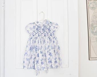 Vintage Baby Dress Vintage Blue White Dress Size 18 Months House Dress Buttons Floral Embroidered