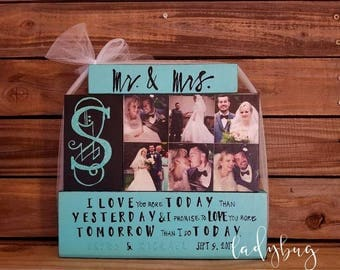 Mr. & Mrs. I love you more today than I did yesterday and I promise to love you more tomorrow than I do today. Set of blocks by Ladybug