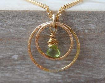 Ready now - Peridot Necklace, August Birthday Gift, August Birthstone Necklace, Gold Necklace, Circle Necklace