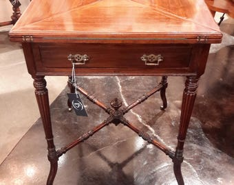 Antique Game Table Mahogany Flip Folding Top With Drawer Brass Rolling  Casters Cards Occasional Table