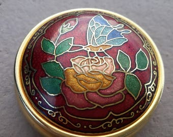 Enamled Cloisonne Pill Box Butterfly Flower Design Round Gold Tone Metal Case FREE SHIPPING