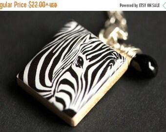 BACK to SCHOOL SALE Zebra Necklace. Nature Necklace. Black and White Necklace. Scrabble Tile Necklace with Black Teardrop. Scrabble Necklace