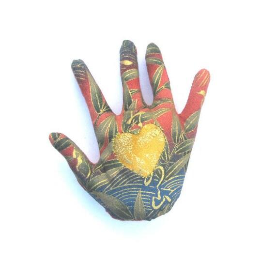 Asian Garden Fabric Hand Brooch Applique Gold Heart Hamsa Pin Ready to Ship