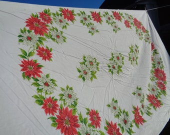 "vintage christmas holiday tablecloth Poinsettias seasonal cotton 1950's kitsch linens 94"" x 62"""