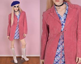 90s Pink Suede Coat/ Medium/ 1990s/ Jacket