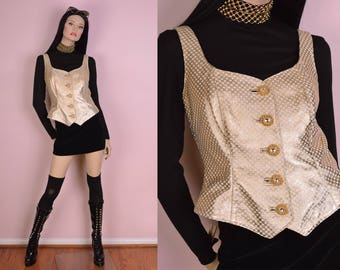80s Gold and White Checkered Leather Vest/ Medium/ 1980s