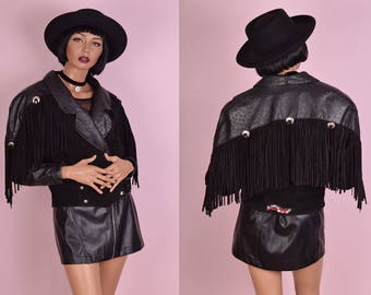 80s Black Leather and Suede Fringe Jacket/ Small/ 1980s
