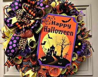 Halloween Wreath,  for front door, Halloween Decoration, Halloween Home Decor, Happy Halloween Wreath, Halloween deco mesh, Home Decor