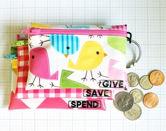 Birdies Give Save Spend budgeting tool for kids | wipeable cash envelopes