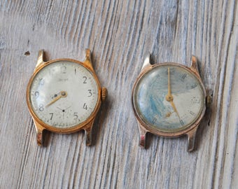 Vintage Soviet Russian wrist watches for parts. Didn't work. Set of 2.