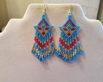 Native American Style Seed Beaded Arrow Earrings in Blue, Pink, Silver Southwestern, Brick Stitch, Peyote Boho, Gypsy, Ready to Ship