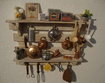 dollhouse furniture,   miniature kitchen panel,  1:12 scale, for country house