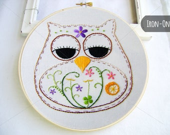 IRON-ON transfer Spring  Owl Flowers Blooms
