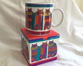 MIB Laurel Burch Coffee Cup Mug RAINBOW Cat Cousins NOS New in Box 1988 Bright Teal Fuchsia Yellow Orange Gold mod rainbow design birthday