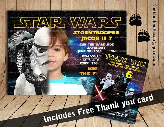 Star Wars Birthday Greeting Free ~ Personalize star wars invitation stormtrooper party star wars