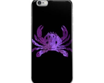 Purple Crab, Baltimore, Seafood, Baltimore Art, Maryland, Crab Art, Black and Purple, Raven Colors, Raven Crab, iPhone Case
