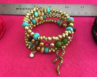 Gold, Green Agate, Turquoise, and gold seed beads, Snake, wrap wire/adjustable bracelet