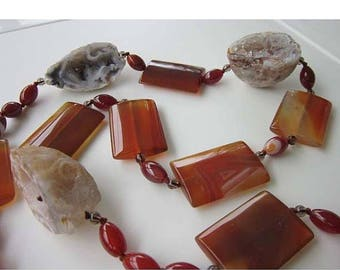 50% OFF Agate Geode Stone Beaded Necklace Long