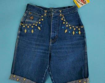 1980s 90s Gold Stud Jewel Jean Shorts Teddy NOS Blue Jean High Waist Denim Shorts SMall XS 36 hip