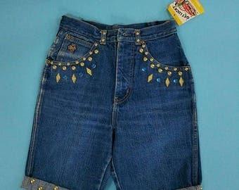 Summer Sale 1980s 90s Gold Stud Jewel Jean Shorts Teddy NOS Blue Jean High Waist Denim Shorts SMall XS 36 hip