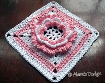 Crochet Pattern 195 - Glorious Flower Granny Square Crochet Patterns Crochet Flower Motif Afghan Block Blanket Pattern Pillow 3D Flower