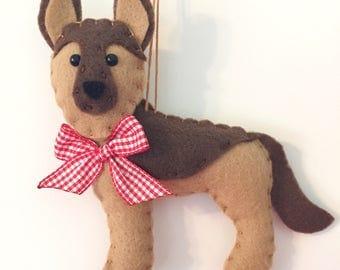German Shepherd Ornament - Personalized Ornament - German Shepherd Christmas Ornament - German Shepherd Gift - Pet Memorial Gift - Felt Dog