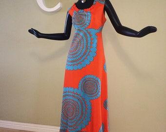 Size Large Vintage Hawaiian Maxi Dress 1960 1970s MOD Psychedelic Mandala Print Tiki Oasis Hippie Boho Beach Wedding Orange & Blue Baba Kea