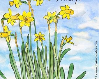 235. daffodil birthday card - set of any 6 cards
