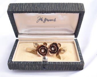 Antique Diamonds 14K Rose Gold Earrings in Original John Wanamaker Box 1930s Diamond Jewelry