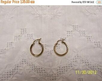 TWICE A YEAR, 25% Off Diamond Cut Hoop Earrings. Gold Over Sterling Silver.