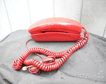Sexy Lipstick Red  TrimLine Sears Push button Telephone Red Retro Telephone Working Retro Trimline Style Phone Wall Desktop Telephone WORKS