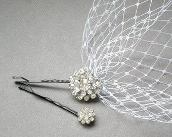 ON SALE RHINESTONE Veil. Bridal Blusher Birdcage. Bandeau Wedding Veil Gift Russian Netting. Boho Bride. Vogue Bandeau Style Veil, Pouf Veil