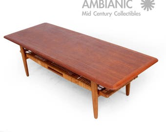 Danish Modern Teak Coffee Table Cane Shelve