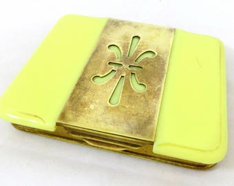 Art Deco Celluloid Case, Lemon Yellow Early Plastic & Brass Snapshut Flapper Card/Cigarette Case 1920s