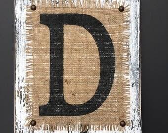 Last name First Name monogram letter rustic burlap and distressed wood, a,v,c,e,r,h,t,f,s,a,v,b,j,k,u,y