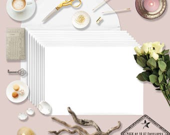 Blank A7 Cotton Savory White  Envelopes Invitations 10 pack 5x7