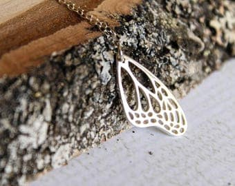 Monarch Butterfly Wing Necklace in Sterling Silver