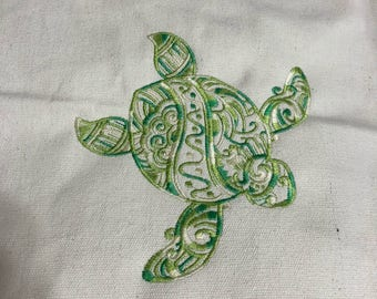 New canvas tote bag embroidered with TURTLE