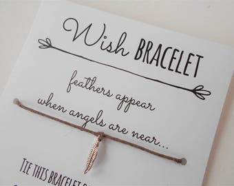 Feather Wish Bracelet, Tie-on Charm Bracelet, Angels Wish Bracelet, Friendship Bracelet, Thinking of You Gift, Wish Bracelet Gift