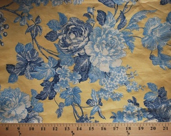 WAVERLY French Country Blue Yellow Floral Upholstery Fabric .75 Yards + Remnants