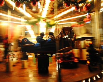 Signed Photography Print, Carousel, 8.5x11 inches, Merry go round, childs art, motion photography, airplane, carnival, Wall Art
