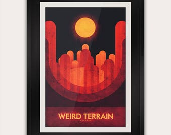 Space Travel Poster - Mercury - Weird Terrain