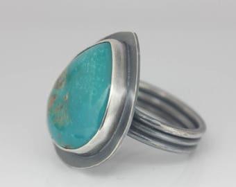 Morenci Turquoise Ring, Sterling Silver Ring, Artisan Ring, Unisex Statement Ring, Size 8