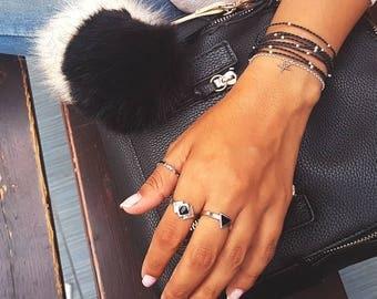 Black Wrap Bracelet with 925 Silver Beads,stack bracelets,beach chic bracelet,silver bracelet,string bracelet,unique bracelet,wraps,summer
