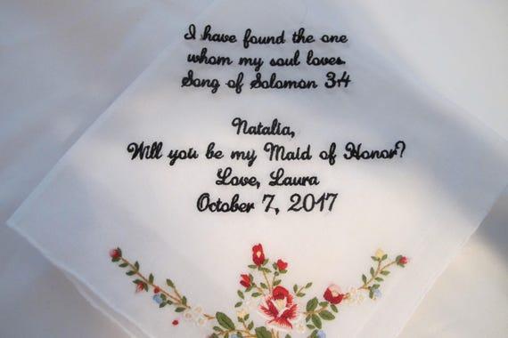 Flower Girl Embroidered Wedding Handkerchief