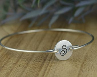 Any Initial Bracelet- Silver Filled or Aluminum Monogram Circle Disc and Sterling Silver Filled Wire Wrapped Bangle - Custom Made to Size