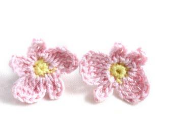 Earrings - Vegan Earrings - Vegan Jewelry - Earrings Studs - Crochet Earrings - Flower Earrings - Stainless Steel Earrings - Pink Earrings